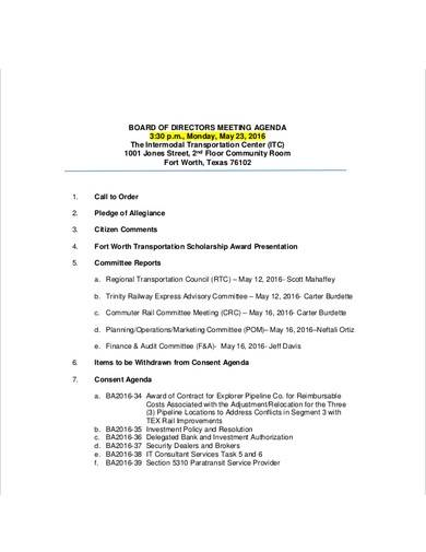 bod strategy meeting agenda sample