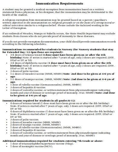 basic immunization requirements
