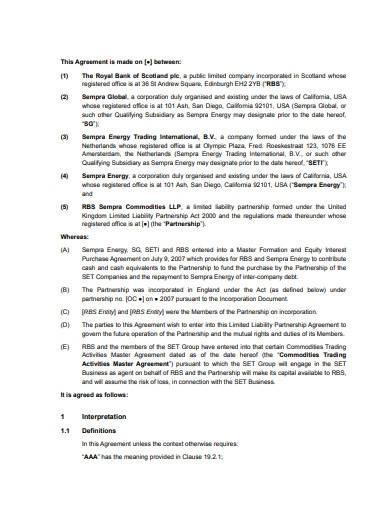 basic limited liability partnership agreement