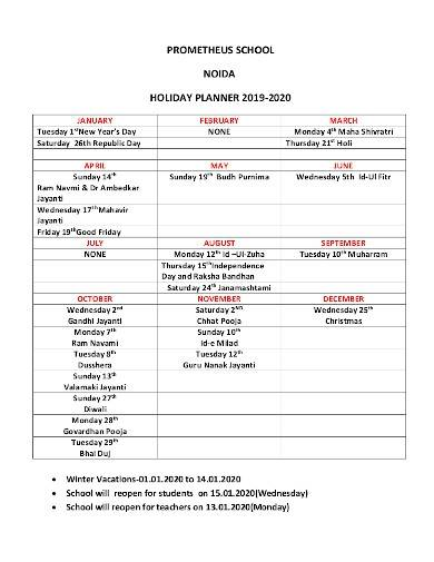 basic school holiday planner