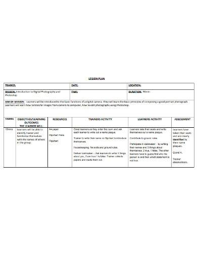 basic trainer lesson plan template