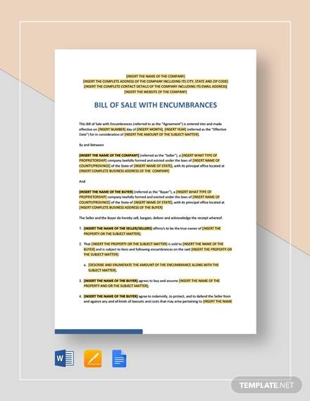 bill of sale with encumbrances template
