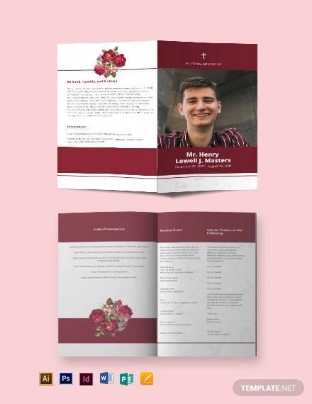 blank funeral program bi fold brochure