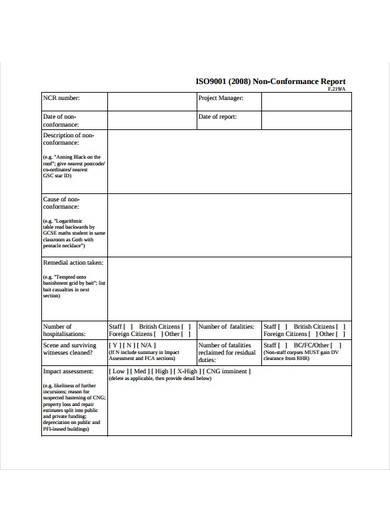 blank non conformance report