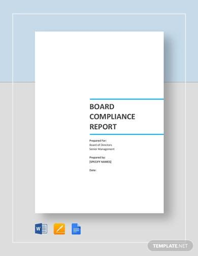 board compliance report template
