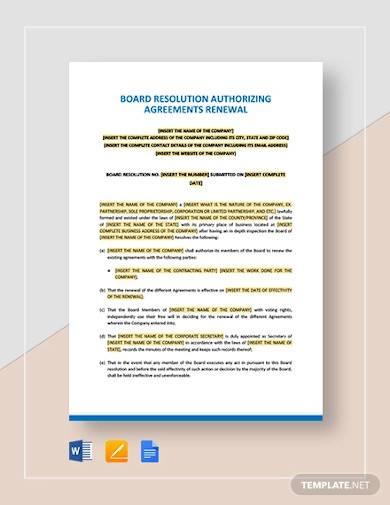 board resolution authorising agreement