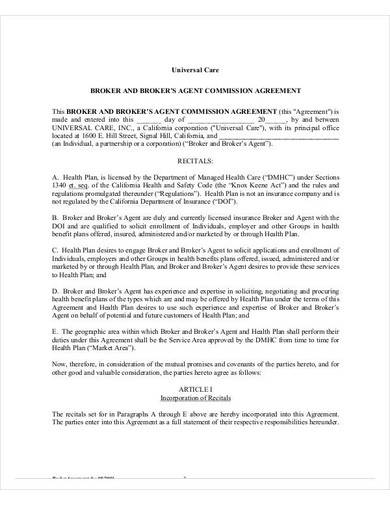 broker's agent commission agreement
