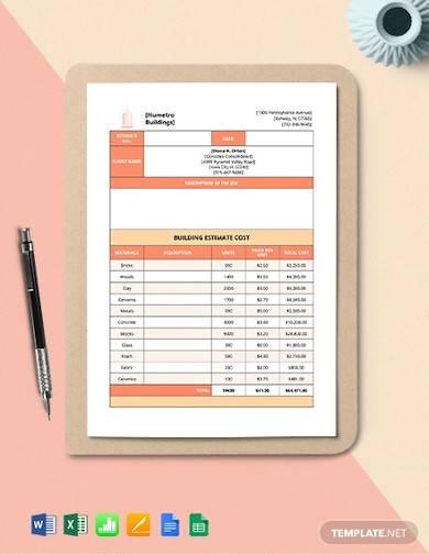 building cost estimate template