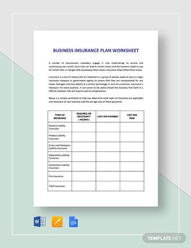 business insurance plan worksheet