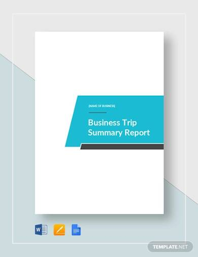 business trip summary report sample