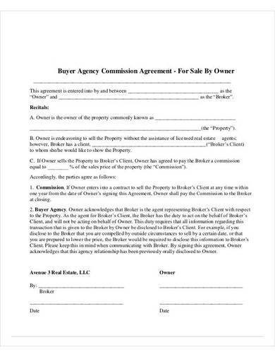 buyer agency commission agreement