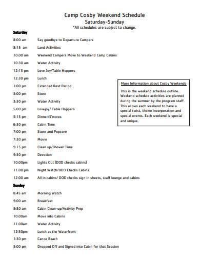 camp weekend schedule sample