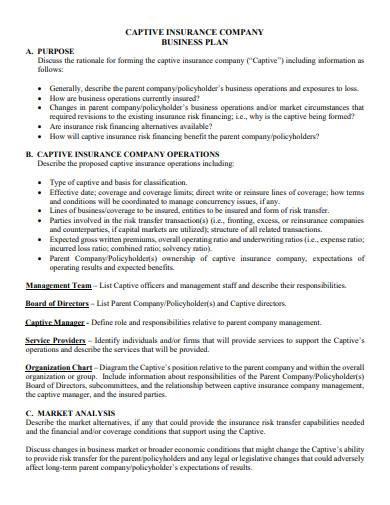 captive insurance company business plan