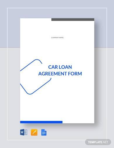 car loan agreement form template