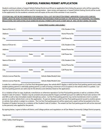 carpool parking permit application