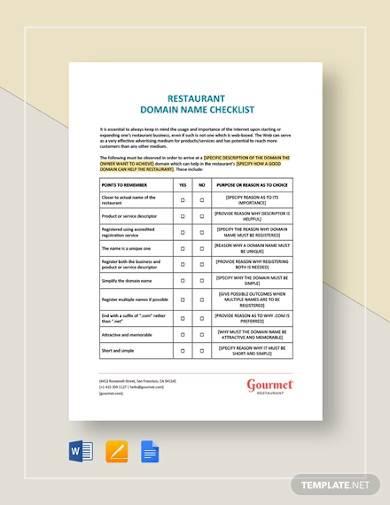 checklist choosing a restaurant domain name