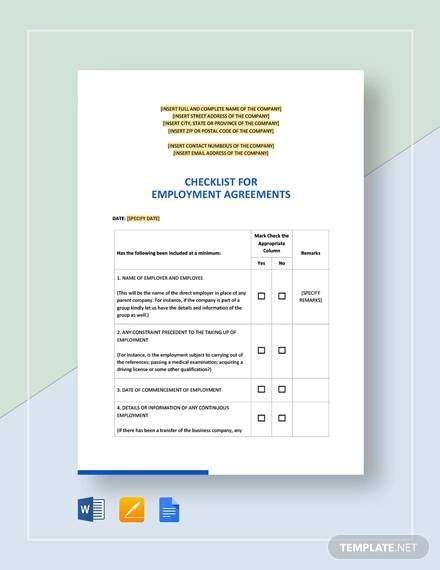 checklist for employment agreement template