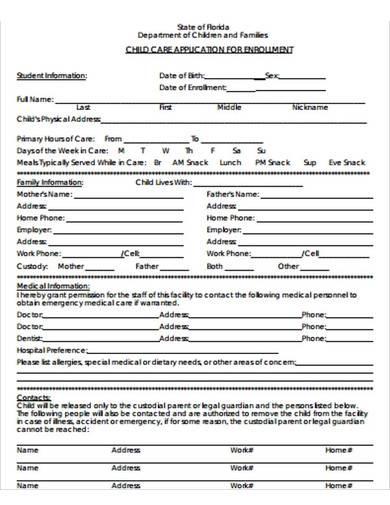 childcare enrollment application form