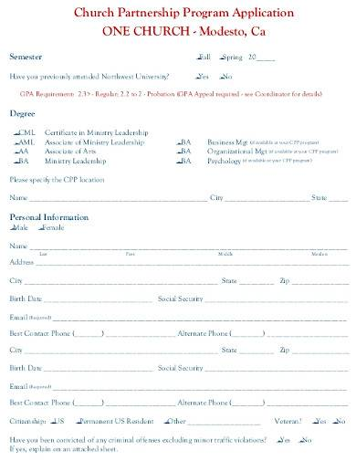 church partnership program application