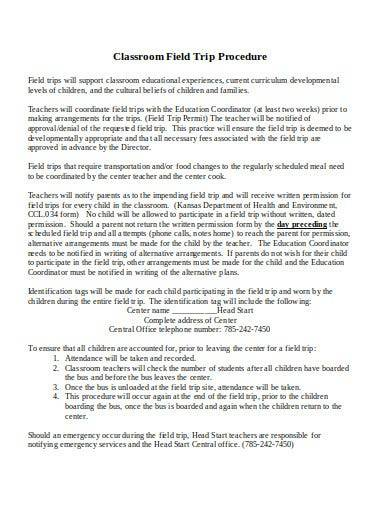 classroom field trip policy procedure