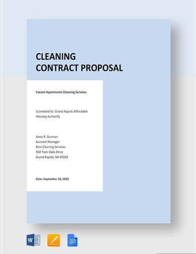 cleaning contract proposal template1