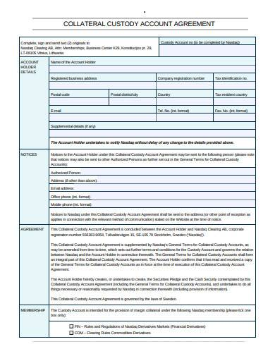 collateral custody account agreement
