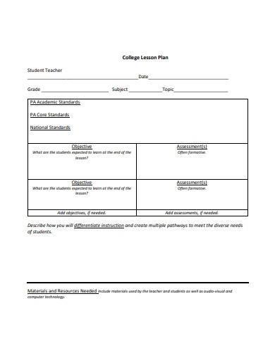 college lesson plan template