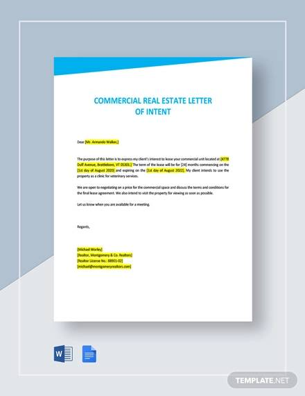 commercial real estate letter of intent template