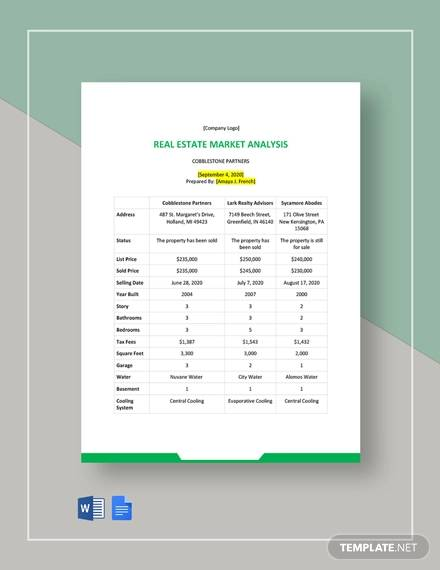 commercial real estate market analysis template