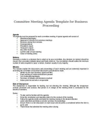 committee meeting agenda template