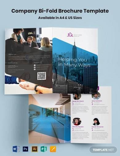 company bi fold brochure template