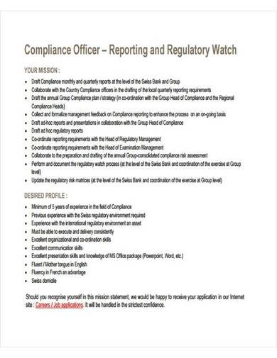compliance officer report template
