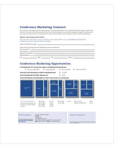 conference marketing contract sample