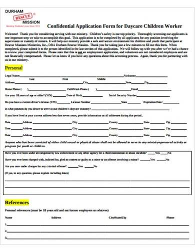 confidential daycare application form