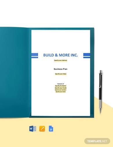 construction manufacturer business plan template