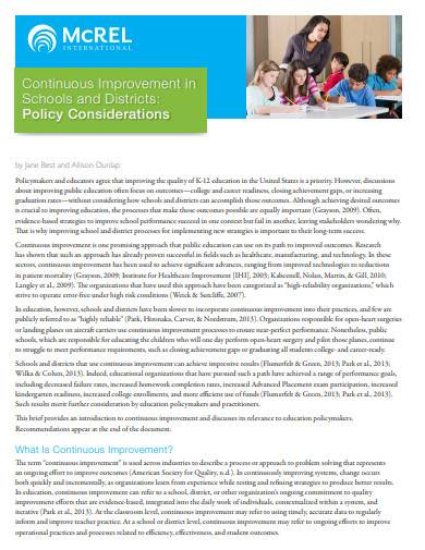 continuous improvement in schools and districts