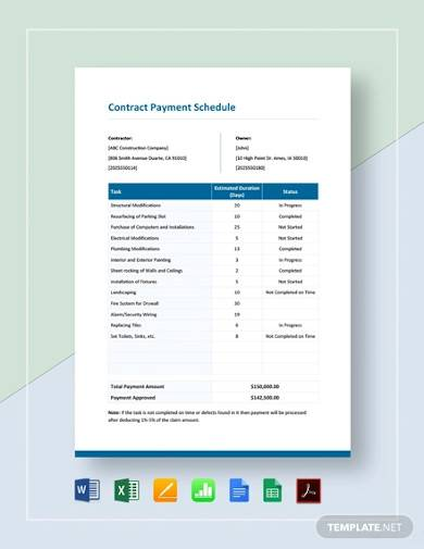 contract payment schedule template