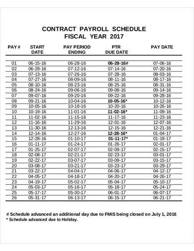 contract payroll schedule sample