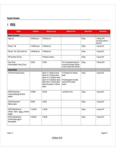 contract service payment schedule