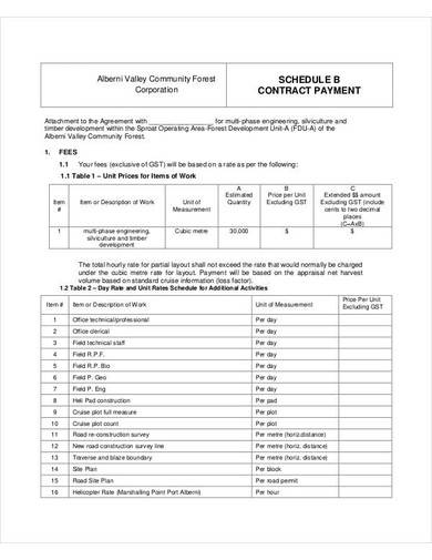 corporation schedule contract payment