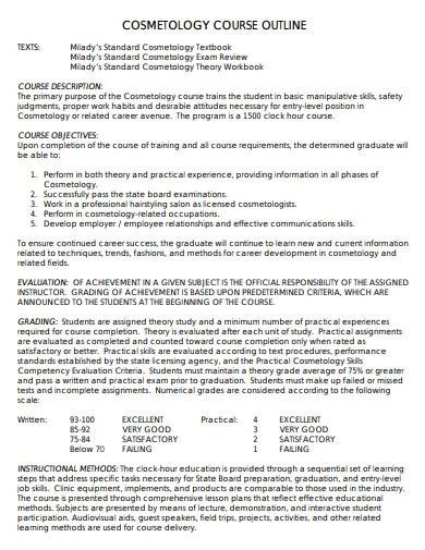 cosmetology course outline template
