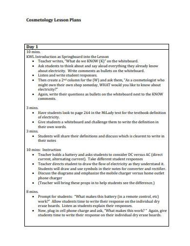 cosmetology lesson plan template