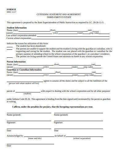 custodial statement agreement