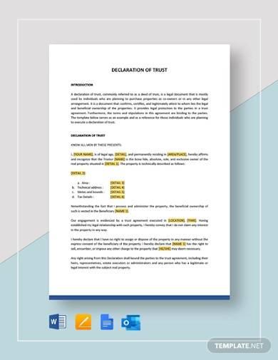 declaration of trust template