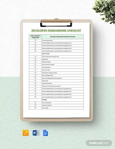 developer onboarding checklist template