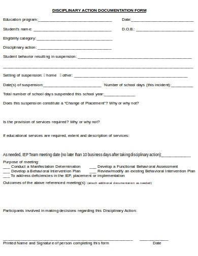 disciplinary action documentation form