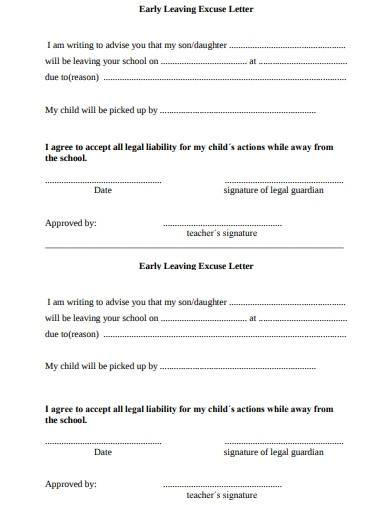 early leaving excuse letter template