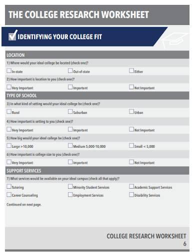 editable college research worksheet