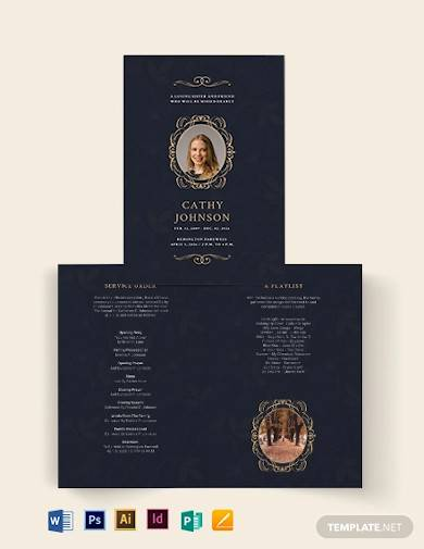 elegant funeral obituary bi fold brochure