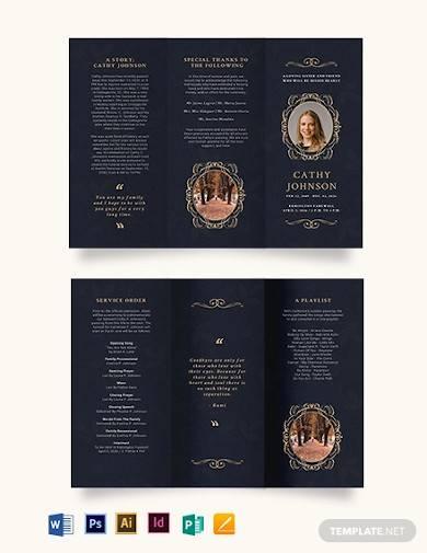 elegant funeral obituary tri fold brochure